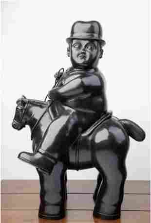 SIGNED BOTERO BRONZE SCULPTURE OF MAN ON HORSE