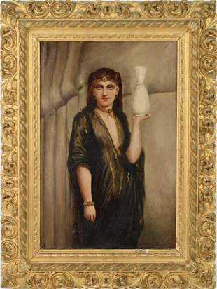19TH C. CONTINENTAL OIL PAINTING ON CANVAS