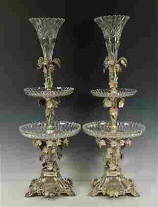 A PALATIAL PAIR OF VICTORIAN STERLING SILVER & CRYSTAL