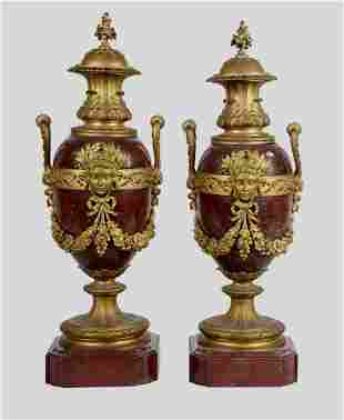 PAIR OF DORE BRONZE & ROUGES MARBLE URNS