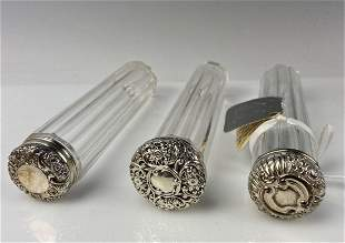 SET OF 3 VICTORIAN STERLING SILVER AND CRYSTAL BOTTLES