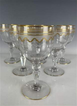 SET OF 6 MOSER ETCHED AND GILT WINE GLASSES
