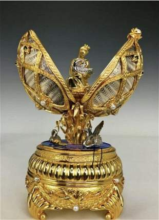 FABERGE SWAN LAKE IMPERIAL JEWELED STERLING MUSICAL EGG
