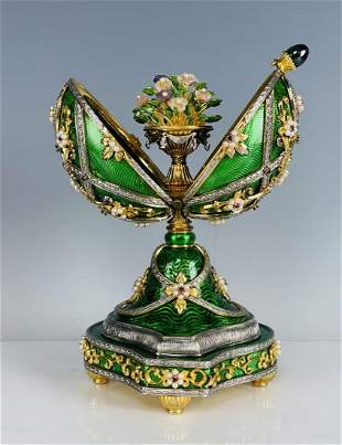 IMPERIAL FABERGE GOLD OVER SILVER MUSICAL EGG