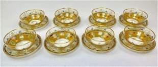 SET OF 8 ENAMELLED MOSER FINGER BOWLS & PLATES