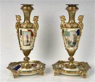 PAIR OF DORE BRONZE AND PARIS PORCELAIN CANDLE HOLDERS