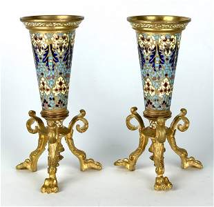 A PAIR OF FRENCH CHAMPLEVE ENAMEL VASES