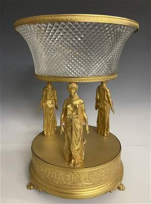 EMPIRE STYLE ORMOLU AND BACCARAT GLASS CENTERPIECE