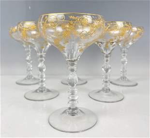 SET OF 6 LARGE GILT MOSER CHAMPAGNE GLASSES