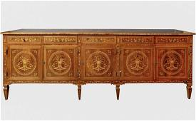 A LARGE CONTINENTAL MARQUETRY COMMODE