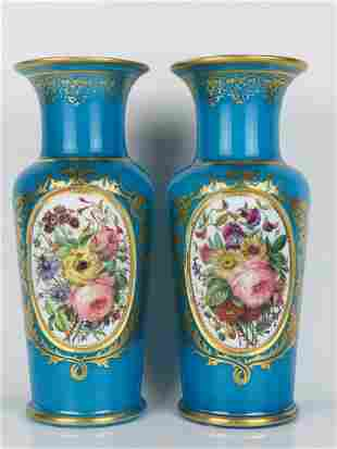A VERY FINE PAIR OF BACCARAT OPALINE VASES