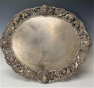 A LARGE 19TH C ENGLISH STERLING SILVER TRAY
