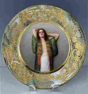 ROYAL VIENNA PLATE SIGNED WAGNER