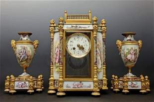 19TH C. FRENCH SEVRES AND CHAMPLEVE ENAMEL CLOCK SET