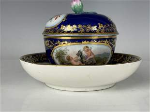 19TH C. BERLIN KPM CUP & SAUCER WITH LID