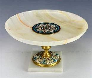 19TH C. FRENCH CHAMPLEVE ENAMEL AND ONYX CENTERPIECE