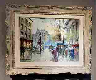 FRENCH OIL PAINTING SIGNED ANTOINE BLANCHARD
