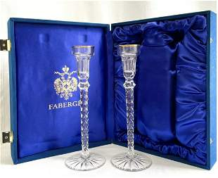 IMPERIAL FABERGE CRYSTAL CANDLE HOLDERS