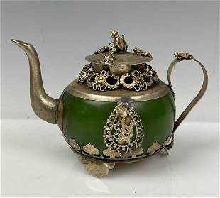 CHINESE CLAD SILVER AND JADITE TEA POT