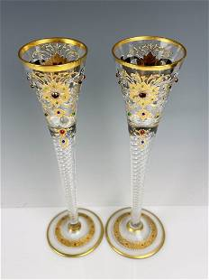 A PAIR OF ENAMELED AND JEWELED MOSER CHAMPAGNE GLASSES