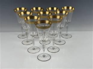SET OF 10 GILT MOSER WINE GLASSES