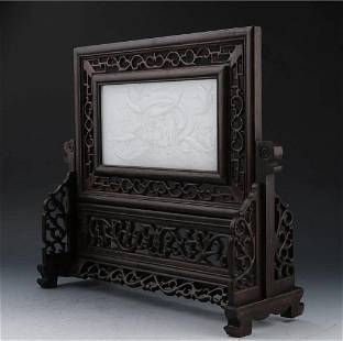 CHINESE CARVED WOOD AND JADE TABLE SCREEN