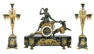EMPIRE STYLE BRONZE AND MARBLE CLOCK SET