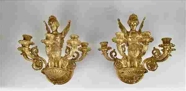 A PAIR OF EMPIRE STYLE DORE BRONZE WALL SCONCES