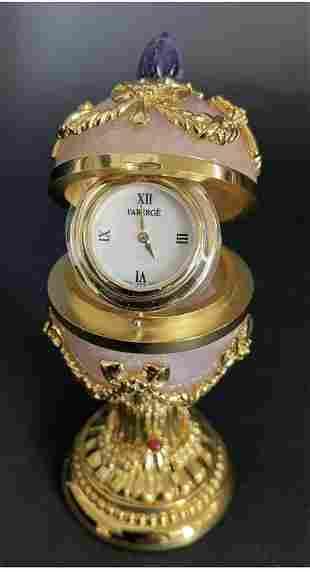IMPERIAL FABERBE ROSE QUARTZ AND AMETHYST EGG CLOCK