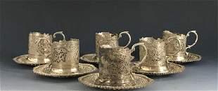 SET OF 6. JUDAICA PERSIAN SILVER TEA CUP HOLDERS
