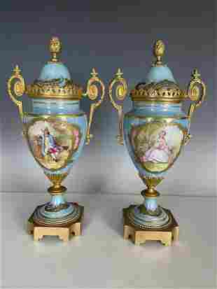 PAIR OF FRENCH ART NOUVEAU ORMOLU MOUNTED SEVRES VASES