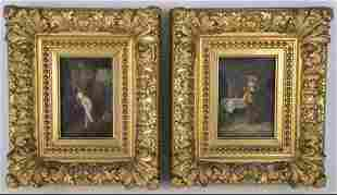 A PAIR OF 19TH C. CONTINENTAL OIL PAINTINGS ON CANVAS
