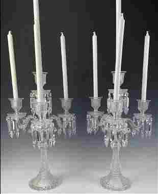 A LARGE PAIR OF ZENITH BACCARAT CANDELABRA