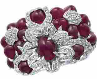 18KT WHITE GOLD AND RUBY RING