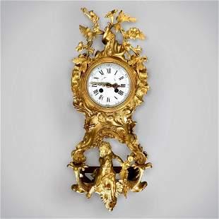 19TH C. DORE BRONZE WALL CLOCK SIGNED BARBEDDIENE