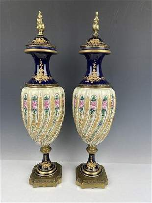 A LARGE PAIR OF FRENCH SEVRES STYLE PORCELAIN VASES