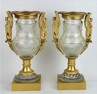 PAIR OF EMPIRE STYLE DORE BRONZE MOUNTED BACCARAT VASES