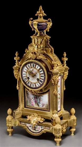 19TH C. JEWELED SEVRES PORCELAIN AND DORE BRONZE CLOCK