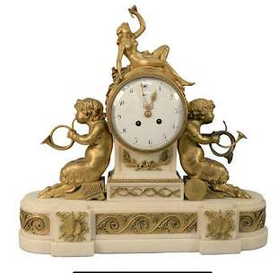 19TH C. FRENCH BRONZE AND MARBLE CLOCK