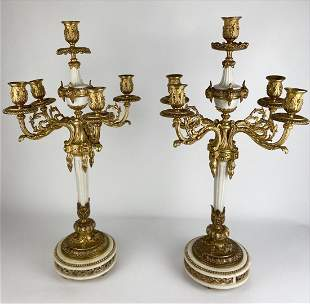 A LARGE PAIR OF ORMOLU MOUNTED MARBLE CANDELABRA
