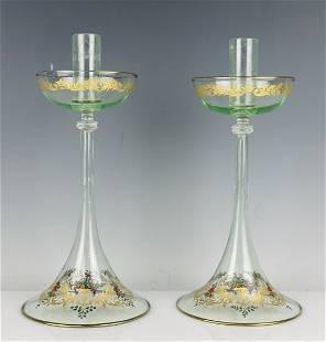 A PAIR OF ENAMELED VENETIAN GLASS CANDEL HOLDERS