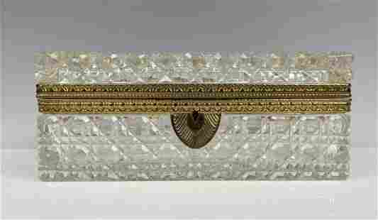 A LARGE ORMOLU MOUNTED BACCARAT CRYSTAL BOX