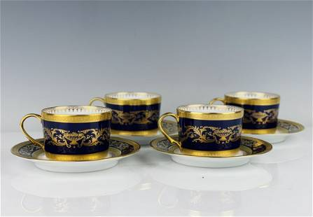 A SET OF 4 IMPERIAL FABERGE PORCELAIN CUP & SAUCERS