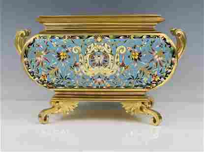 A LARGE 19TH C. FRENCH CHAMPLEVE ENAMEL PLANTER