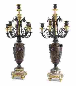 A LARGE PAIR OF 19TH C. BRONZE AND MARBLE CANDELABRA