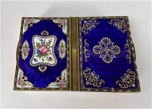 ENGLISH PARCEL GILT SILVER &ENAMEL PLAYING CARD CASE