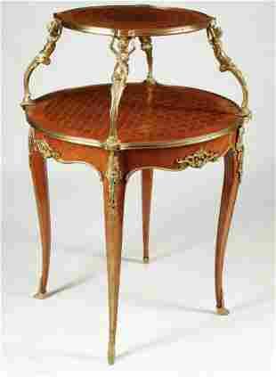 A LOUIS XV STYLE ORMOLU MOUNTED TEA TABLE