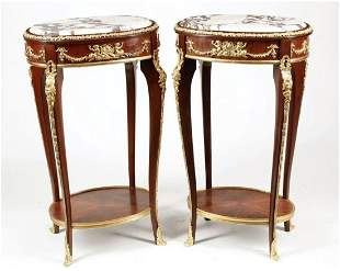 A PAIR OF LOUIS VX STYLE ORMOLU MOUNTED TABLES