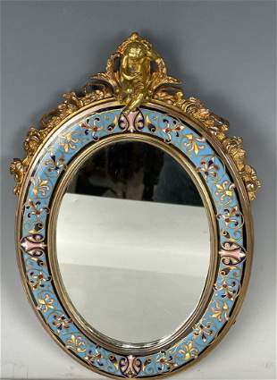 19TH C. FRENCH CHAMPLEVE ENAMEL FIGURAL MIRROR