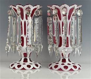 A PAIR OF 19TH C. BOHEMIAN OVERLAY GLASS LUSTERS